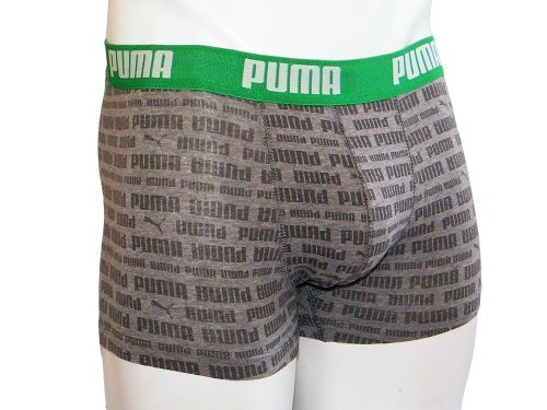 PUMA Uomo Boxer Pantaloncino Testo Stripe 2P, Uomo, 511607001, Grigio Misto Medio, M