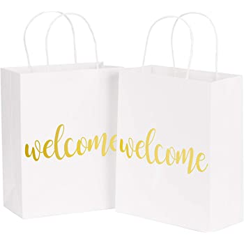 """LaRibbons Medium Welcome Gift Bags - Gold Foil White Paper Bags with Handles for Wedding, Birthday, Baby Shower, Party Favors - 12 Pack - 8"""" x 4"""" x 10"""""""