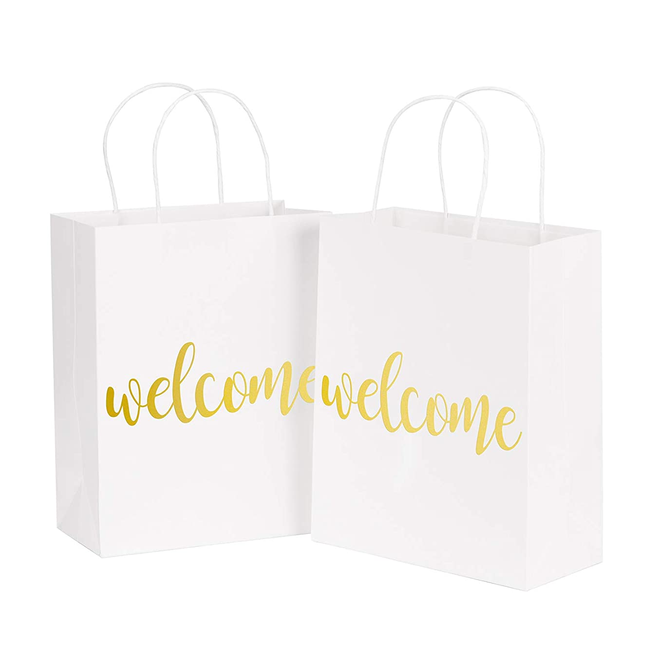 LaRibbons Medium Welcome Gift Bags - Gold Foil White Paper Bags with Handles for Wedding, Birthday, Baby Shower, Party Favors - 25 Pack - 8