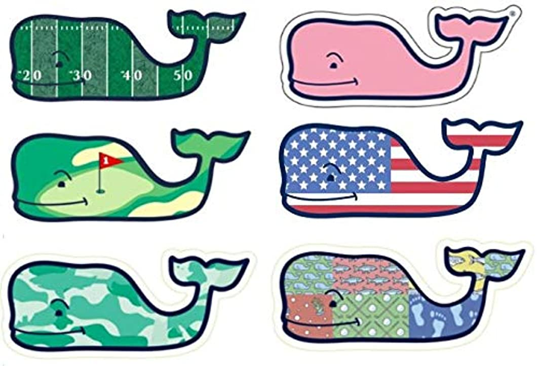 Set of 6 Vineyard Vines Whale Stickers