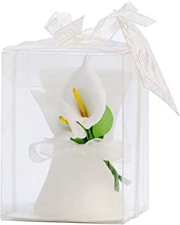 24 Pack Wedding Favors Calla Lily Style Candle Favors Gift Boxed with Thanks Cards for Bridal Shower Favors Return Gifts or Wedding Favors Party Decorations