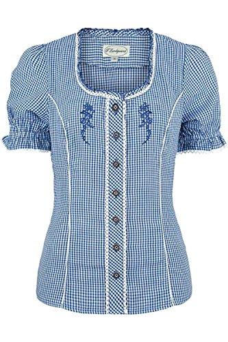 Spieth & Wensky Damen Miederbluse mit Stickerei kariert blau, blau, 36