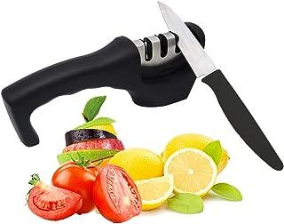Knife Sharpener - Knife Sharpener Stone Pocket Knife Sharpener Whetstone Knife Sharpener Non-Slip Base Kitchen Knife Sharpener Quick Blunt Knife Fruit Knife Polish 3 Grade Ceramic Rod Diamond Sharpen