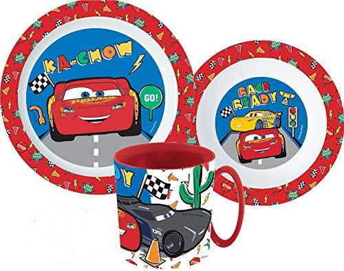 Cars Kinder-Geschirr Set mit Teller, Müslischale und Trinkbecher inkl. Besteck