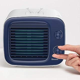 Mini USB Refrigerador De Aire, Aparato De Aire Acondicionado Portátil con Barra De Nivel De Agua Y La Adición De Agua De Diseño Superior Tiene Fácil De Desmontar Cortina De Agua,Azul