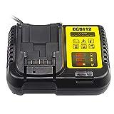 QUPER- DCB112 12V and 18V Lithium-Ion Battery Charger Compatible with Dewalt DCB101 DCB105 DCB115 DCB120 DCB127 DCB206 DCB205 DCB201