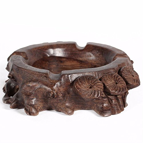 ZHQ Bedroom Living Room Ashtray Ebony Wood Vintage Root Carving Wood Creative Personality Large Ashtray (Color : Brown)