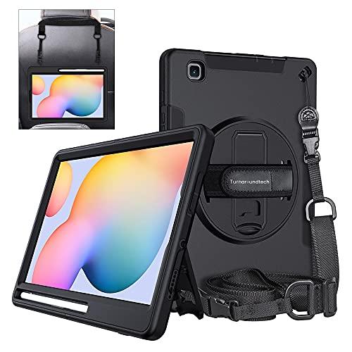"""Funda Compatible con Samsung Galaxy Tab S6 Lite 10.4"""" 2020 P610 P615 Proteccion Total 2 en 1 Soporte rotacion para Mano y Colgador para Hombro y reposacabezas Coche"""