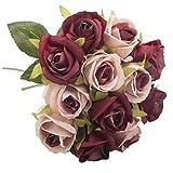 JERKKY Bouquet De Mariée 1 Bouquet Imitation Soie Artificielle Rose Fleur Bouquet Vintage pour La Mariée Demoiselle d'honneur Accessoires De Fête De Mariage Jardin Décoration de La Maison Vin Rouge