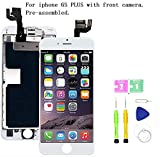 Screen Replacement Compatible with iPhone 6S Plus Full Assembly - LCD 3D Touch Display Digitizer with Ear Speaker, Sensors and Front Camera, Fit Compatible with All iPhone 6S Plus (White)