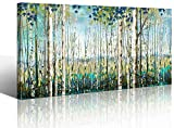 Large Wall Art Decor Green View White Birch Forest Canvas Painting Nature Plant Picture Wildlife Trees Landscape Artwork Home Living Room Bedroom Office Wall Decoration Hand-Painted Wall Art 24x48