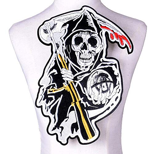 JINAN Parche de calavera de hierro con alas de moral en la parte trasera, parche grande bordado, ropa chaqueta y pantalones vaqueros (color: 8)