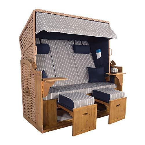 XXL 2,5-Sitzer Natur Strandkorb Hörnum (als Bausatz, Blau-Grau Nadelstreifen)
