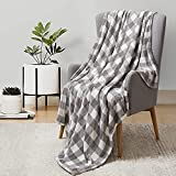 BEDELITE Fleece Blankets Grey and White Buffalo Plaid Throw Blankets for Couch & Bed, Cozy Plush Fuzzy Checkered Blanket, Super Soft & Warm Lightweight Throw Blankets for Fall and Winter
