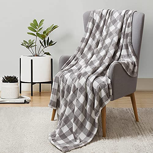 BEDELITE Fleece Blankets Grey and White Buffalo Plaid Throw Blankets for Couch & Bed, Plush Microfiber Fuzzy Checkered Blanket, Super Soft & Warm Lightweight Throw Blankets for Spring and Summer