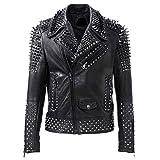 Mens Brando Studded Motorcycle Black Biker Leather Jacket Motorbike Rock Punk Spike Outerwear