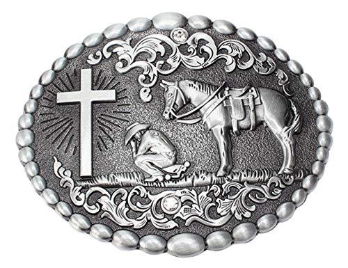 Retro Celtic Cross Horse Horseman Religious Rhinestone Horseman Belt Buckle