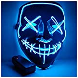 PATPAT® Halloween Mask LED Light up Mask for Halloween Festival Cosplay Halloween Costume Party Decorations (Blue)