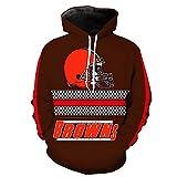 3DパーカージャケットプルオーバーサイクリングジャージNFL - NFLクリーブランド・ブラウンズアメリカンフットボールチームのユニセックスジャージーカジュアルフーディースポーツウェア - Brown-XXXL