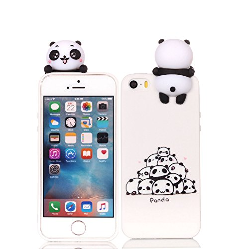 DAMONDY iPhone 5/5s/SE Case,3D Cartoon Animals Cute Pattern Soft Gel Silicone Slim Design Rubber Thin Protective Cover Phone Case for iPhone SE/iPhone 5S/iPhone 5-Many Panda