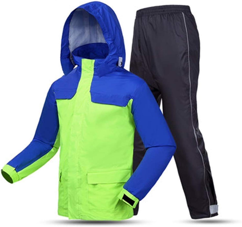 Adult Fashion Split Raincoat Stereoscopic Cutting Large Pocket Design Reflective Sticker Design Grid Lining Thin and Light Fluorescent Green Hiking Travel (Size   Large)