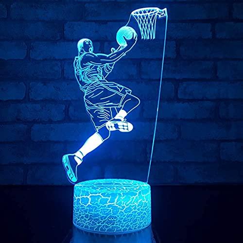 GXN Disparar una Canasta en 3D Luz de Noche Luces de Baloncesto 7 Colores cambian Las lámparas de Noche ilusión para Adultos o niños como Regalo de cumpleaños (Color : A, tamaño : Touch)
