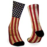 Vintage American Flag United States Flags Novelty Socks, Crazy Funny Fun Cool Dress Socks for Men and Women - (Golf Golfing Fishing Hunting Camping Racing Football Biking Grilling) Gifts