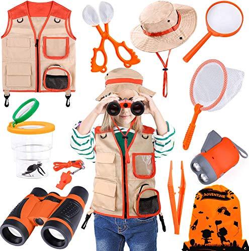 TEPSMIGO Kids Explorer Kit & Bug Catcher Kit, 12 Pcs Outdoor Adventure Set with Binoculars, Safari & Vest Hat, Butterfly Net, Flashlight, Magnifying Glass, Whistle, Camping Bag Toy for Boys Girls
