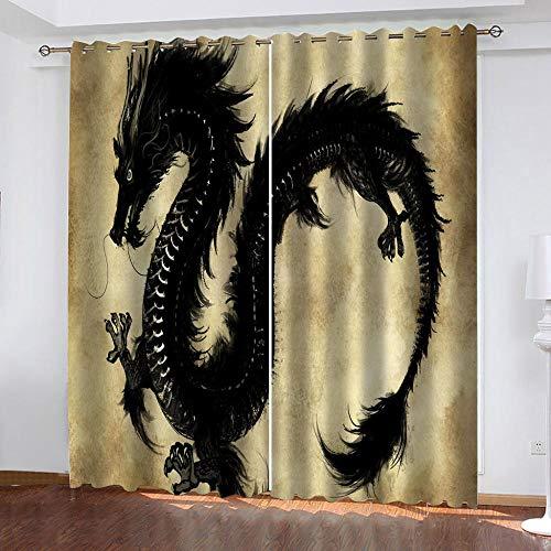 LucaSng Astratto tenda oscurante termica isolante Drago Nero tenda camera da letto oscurante Tende Oscuranti per Interni Tenda Oscurante con Occhielli 132x160 cm