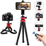Flexible Phone Tripod, PEYOU 12 inch Camera Tripod with 2 Mount Adapters for GoPro, Cell Phone Holder and Remote Shutter Compatible for iPhone Samsung All Smartphones, Compatible for GoPro Sport Action Camera DSLR SLR Vlogging Camera