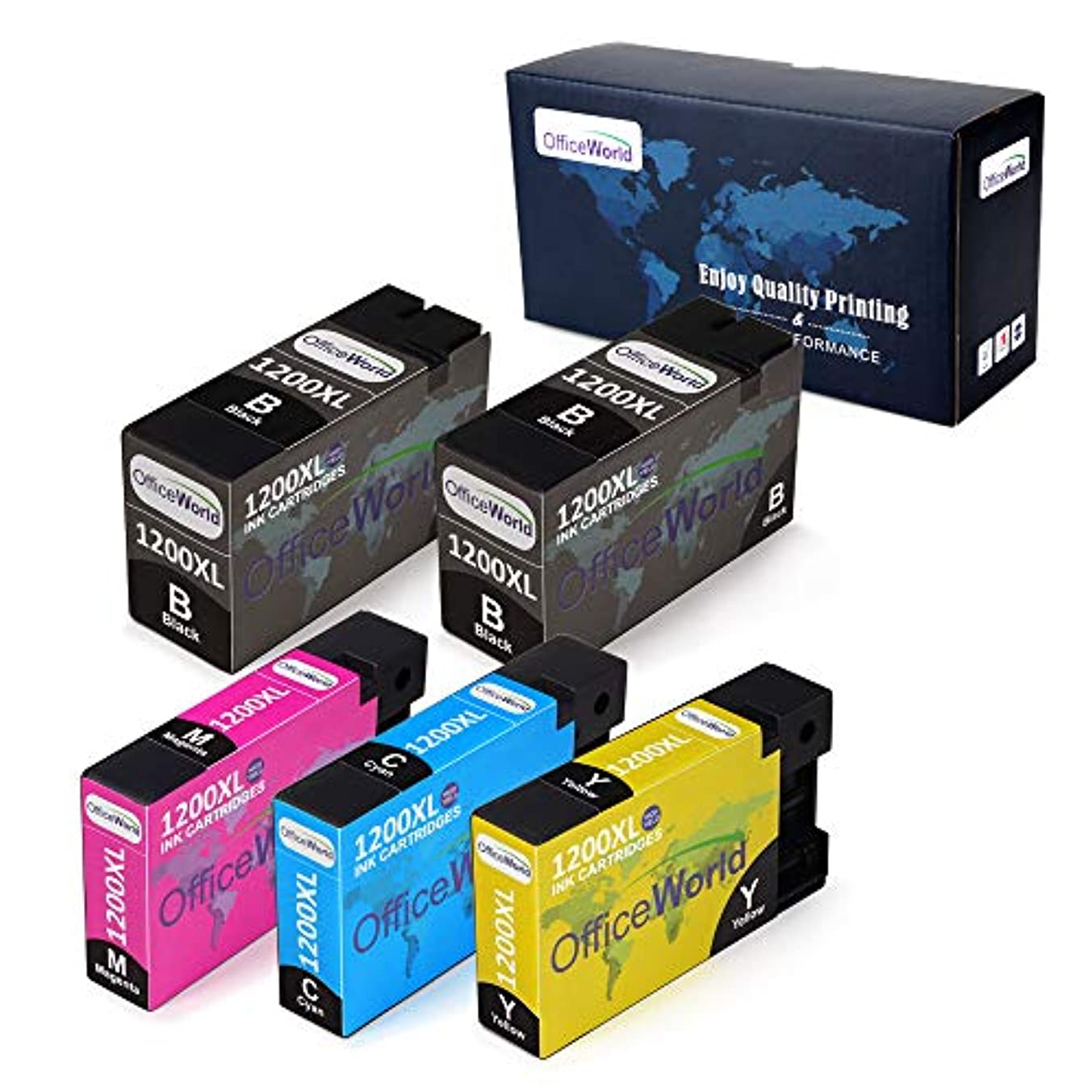 Office World Compatible Ink Cartridge Replacement for Canon PGI-1200XL PGI-1200 XL for Canon Maxify MB2320 MB2720 MB2020 MB2120 MB2350 MB2050 (2 Black, 1 Cyan, 1 Magenta, 1 Yellow, 5 Pack)