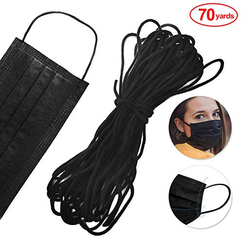 70Yards Black Elastic Cord for DIY Mask - Stretchy Ear Tie Rope Handmade Rope Round Cord Elastic Band for Sewing1/8 inch- Heavy Stretch Knit Sewing Crafts