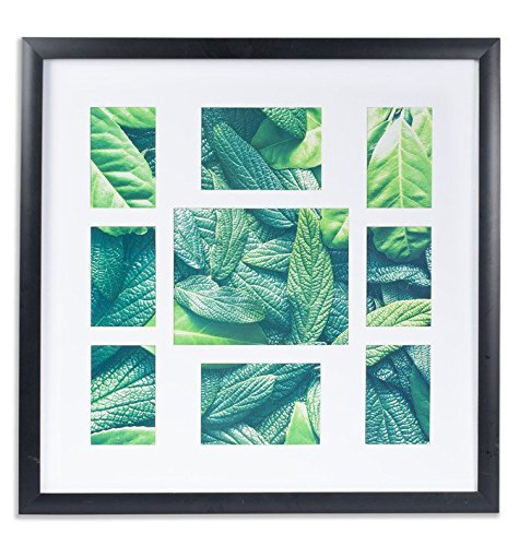 VISTA Collage Flat Picture Photo Frame for Family,26''×26'' Frame, Manu Collection, 9 Openings w Wide Mat: (6) 4'x 6', (2) 5'x 7', (1) 8'x 10', Black