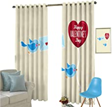 YSING Rod Pocket Blackout Curtain,Text Graphics Geometry Heart Shaped Letter,Decor/Room Darkening Window Curtains,W63 x L72 Inch
