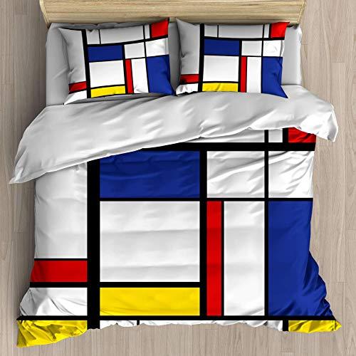 SUPERQIAO Juego de Funda nórdica de Estilo Abstracto Patrón de Mosaico Abstracto Mondrian, Juego...