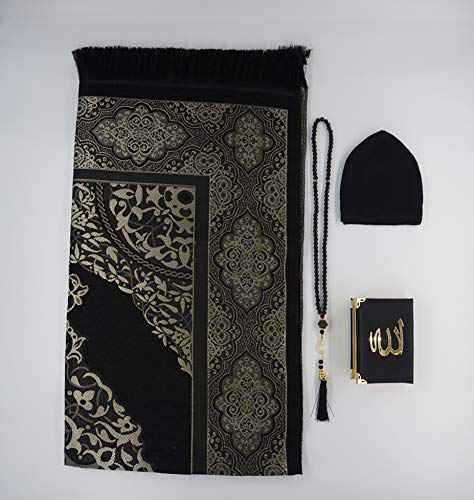 Lale Collection Herren Gebetsteppich-Set Schwarz-Gold Gebetsteppich Seccade + tesbih + Koran + takke Gebetsmütze arabisch Set schwarz namaz sejjade Allah Islam Eid Mubarak Bayram