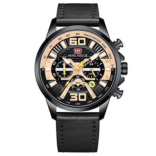 Herren Lederuhr Chronograph Mode Militär Multifunktions Wasserdichte Quarzuhr Lederarmband (schwarz)