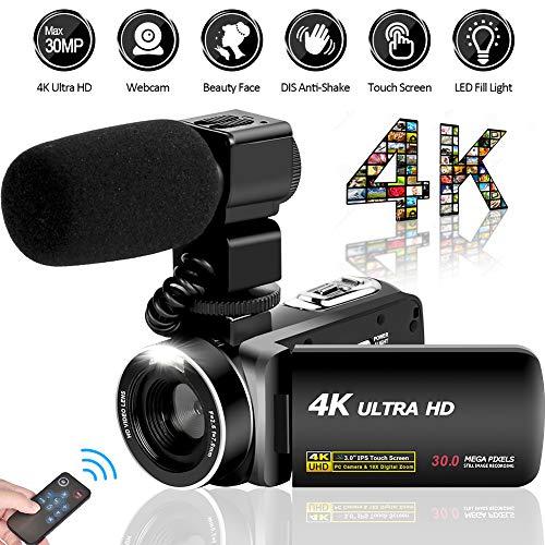 Videokamera Camcorder Ultra HD 4K 30MP Camcorder Kamera mit Mikrofon und Fernbedienung 3.0