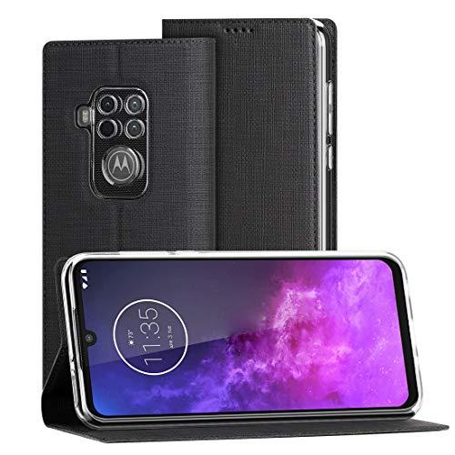 CRESEE Motorola One Zoom Hülle, PU Leder Tasche mit Kartenfach Standfunktion, Schutzhülle Stoßfest Flip Cover Hülle Fall Handyhülle für Moto One Zoom (Schwarz)
