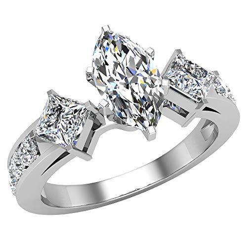 Glitz Design Mujer Niños Hombre Unisex oro 14 quilates (585) oro blanco talla princesa Marquise Cut Round Brilliant J-K Diamond
