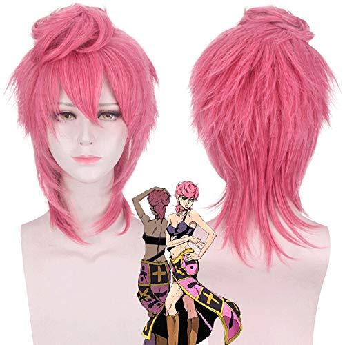 Peluca de anime JOJOJO's Bizarre Adventure Cosplay Trish Una Spice Girl JOJO Golden Wind Cosplay peluca Halloween Party Head Pelucas