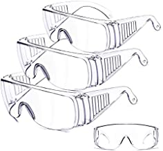 ONV Safety Glasses Over Glasses Safety Goggles Industrial Goggles Protective Eyewear Goggles for Chemical Splash Impact Resistant Clear Safety Glasses Anti-Fog Anti-UV for women men Lab (3 Pack) -