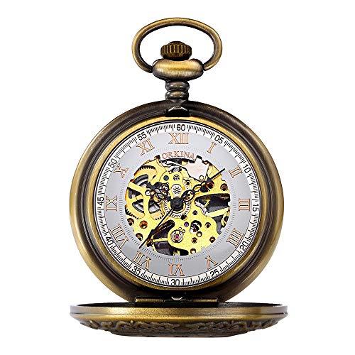 Lwieui Reloj de Bolsillo Reloj de Bolsillo for Hombre con Doble Esqueleto mecánico y números Romanos de Doble Cazador (Color : Metallic)