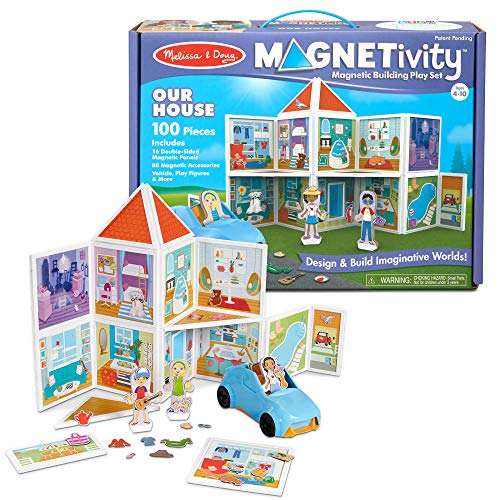 Melissa & Doug Magnetivity Magnetic Building Play Set - Our House with Vehicle (100Piece)