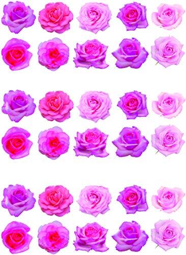 30 preciosas rosas de color rosa para decoración de pasteles