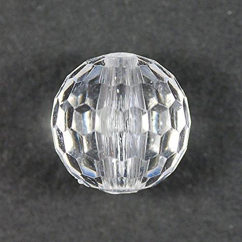 Plavies acryl kralen/spiegel bal geslepen 10 mm transparant kristal 20 g met NO. 1026