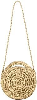 Everpert Straw Beach Women Shoulder Handbags Retro Round Travel Crossbody Bag/Beige