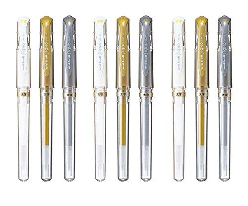 Uni-Ball Signo UM-153 Broad Point Gel Impact Pen, 1.0mm, White/Gold/Silver, 3 pens each/Total 9 pens (Japan Import)