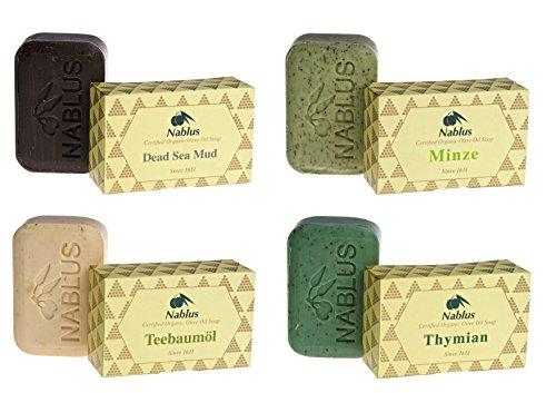 Nablus Soap natürliche Olivenölseife 4er Set (4 x 100g) Dead Sea Mud Minze Teebaumöl Thymian