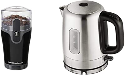 Hamilton Beach Fresh Grind 4.5oz Electric Coffee Grinder for Beans, Spices and More, Stainless Steel Blades & AmazonBasics Stainless Steel Portable Fast, Electric Hot Water Kettle, 1 Liter, Silver